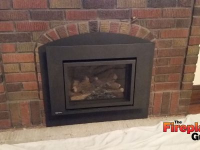Arch insert gas fireplace custom install