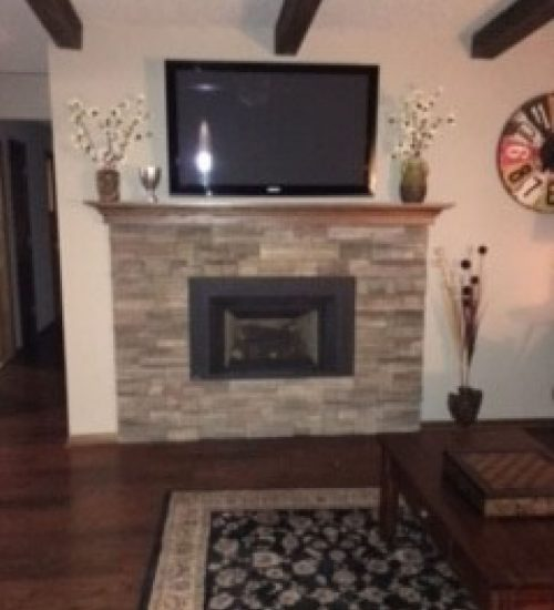 Brick wall removal fireplace renovation minnetonka