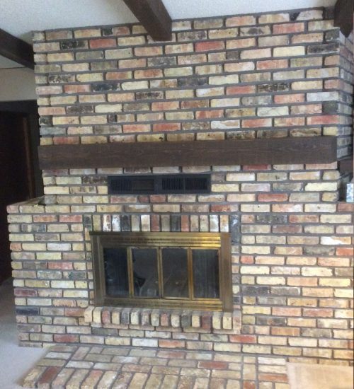 Brick wall removal fireplace renovation minnetonka B