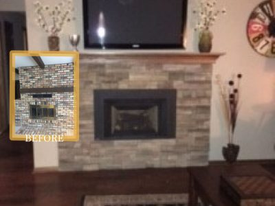 Brick wall removal fireplace renovation minnetonka F