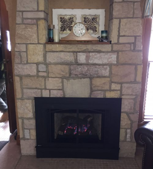 Cut it out stone fireplace conversion after
