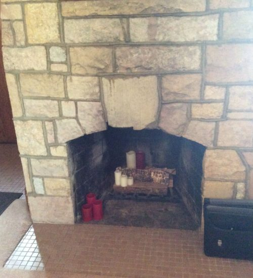 Cut it out stone fireplace conversion before