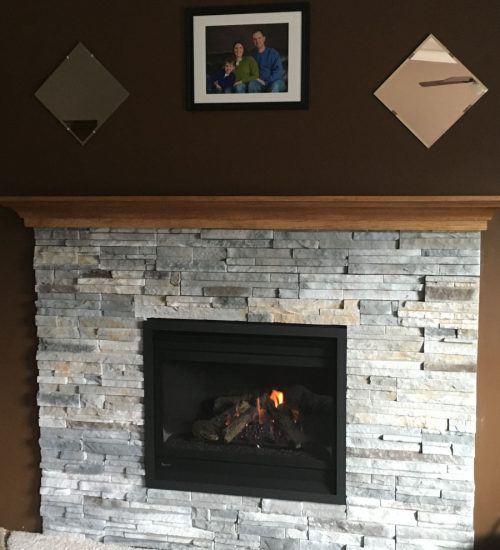 Living Room Warmth stone fireplace