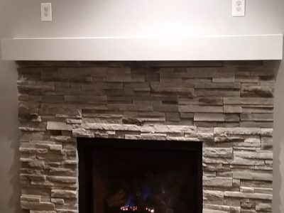 clean lines white stone fireplace saint paul mn