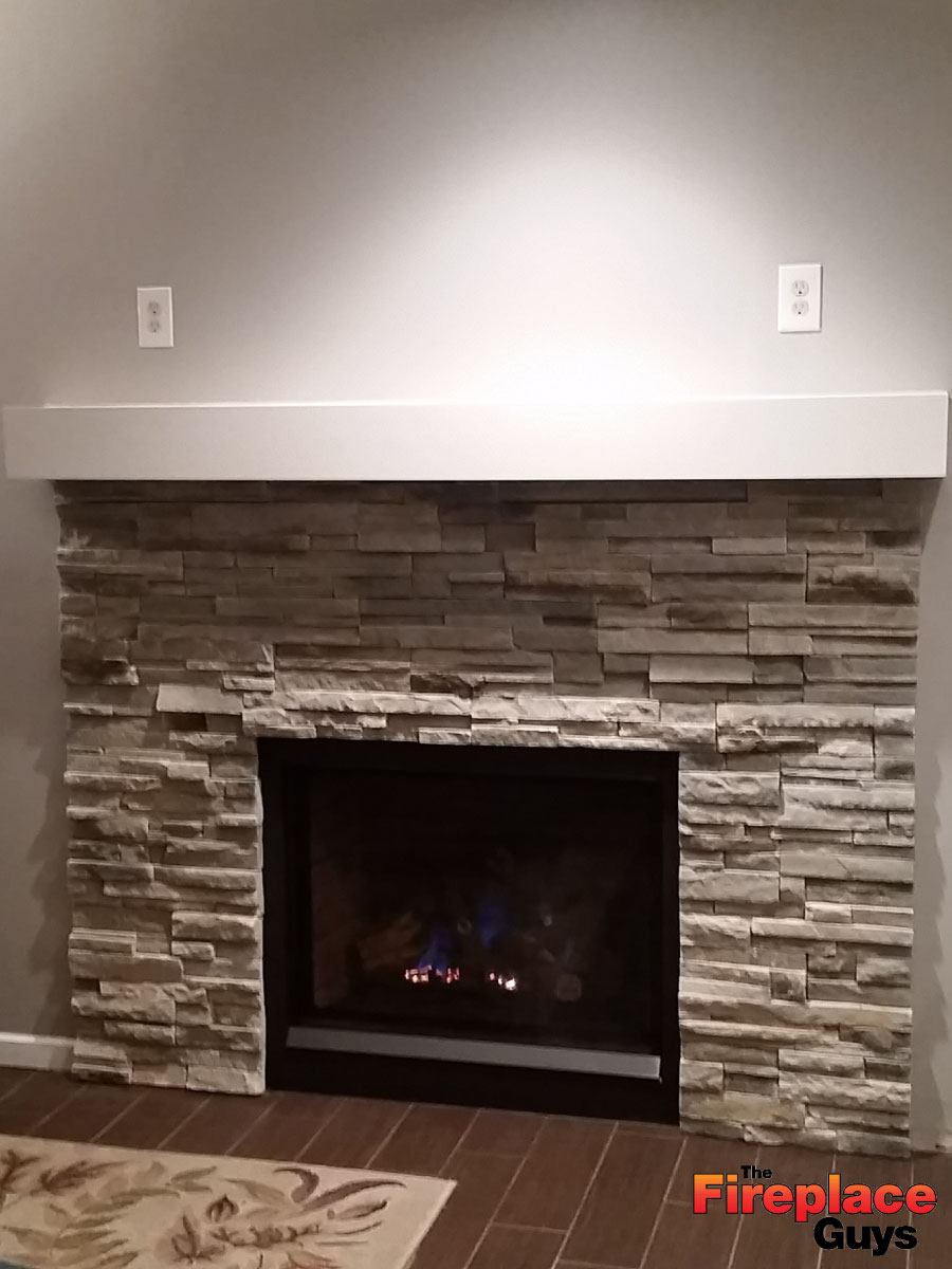 wrap around fireplace mantel. clean lines white stone fireplace saint paul mn Wrap Around Mantel  The Fireplace Guys
