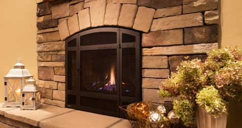 Classic Gas Fireplaces with Stacked Stone
