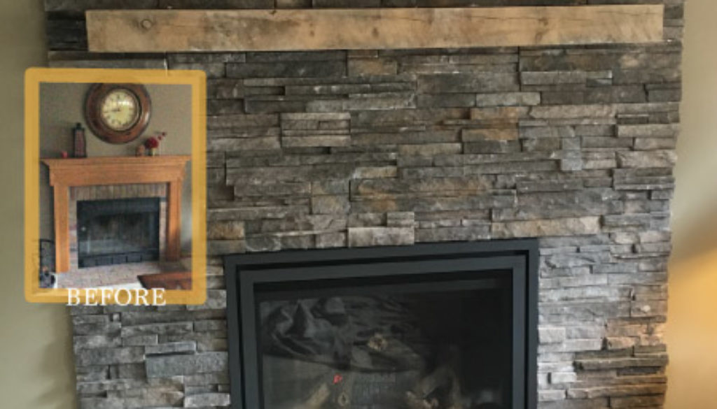 updated stone fireplace