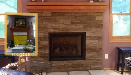 Stone Fireplace Update