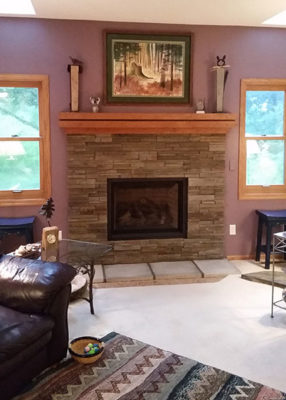 updated stone fireplace After