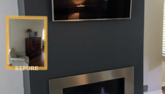 fireplace addition modern glass