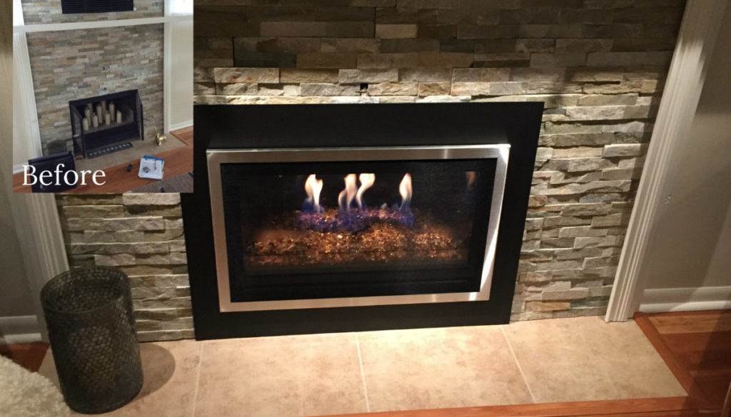 Stone Fireplace Before and After Insert Installed