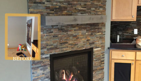 corner fireplace feature before after