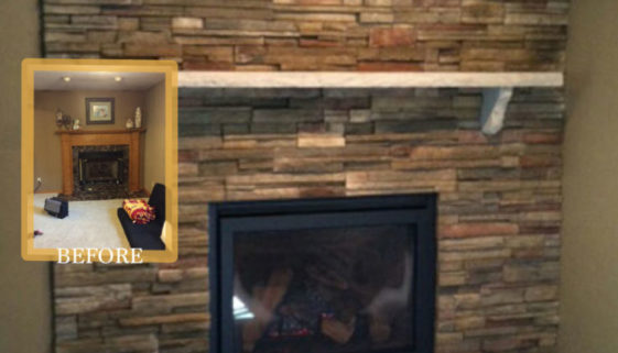 floor to ceiling brick fireplace by regency