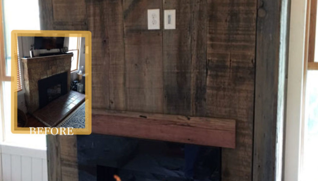 modern rustic fireplace before after barnwood mantel